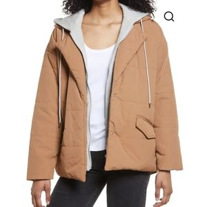 Blank NYC camel puffer tie waist quilted jacket
